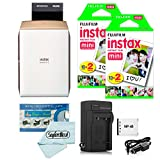 Fujifilm instax SHARE Smartphone Printer SP-2 (Gold) + Fujifilm Mini Twin Pack (40 Shots) + Travel Charger & Extra Battery + Cleaning Cloth