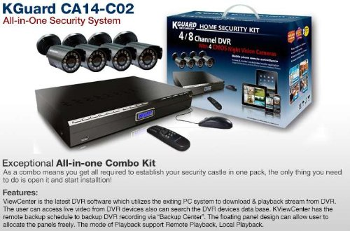 Kworld Kguard Video Surveillance System with 4 CMOS Cameras and 500GB HDD Complete Kit KG-CA14-C02, Best Gadgets