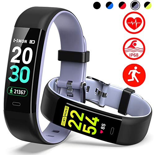 Mgaolo Fitness Tracker HR,Activity Tracker IP68 Waterproof Smart Watch Fit Wristband with Heart Rate Blood Pressure Sleep Monitor Pedometer Calorie Step Counter for Fitbit Android and iPhone (Gray)