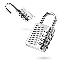 4 Pack Combination Padlocks by DigHealth(TM), Weatherproof, Keyless and Multiple Size, 3 or 4 Digit Code Locks, Resettable Number Password Locks for Gym & School Lockers, Travel Luggage Suitcases