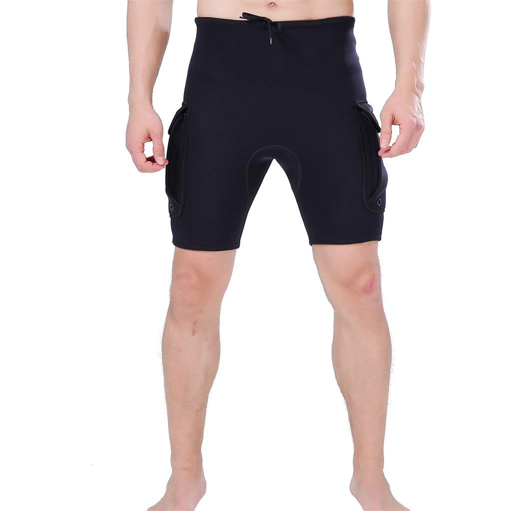 MILIMIEYIK Men's Neoprene Wetsuit Shorts Diving Suits Pants 3mm for Swimming Canoeing Surfing with Pocket Black