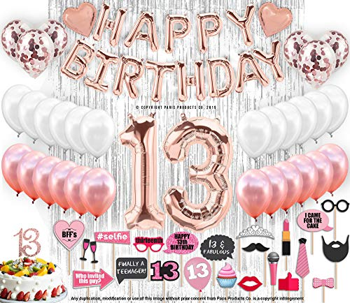 13th Birthday Decorations, 13 Birthday Party Supplies|13 Cake Topper Rose Gold| Happy Birthday Banner| Confetti Balloons for her| Silver Curtain Backdrop Props or Photos 13th Thirteen Teenager -