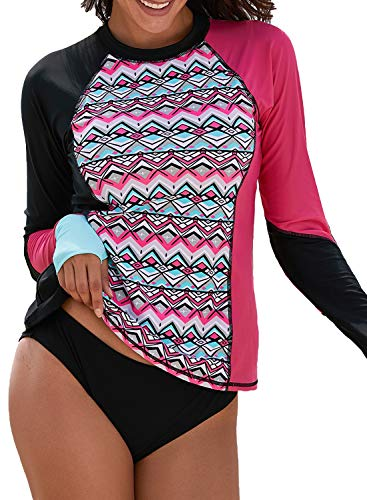 Womens Sport Long Sleeve Rash Guard Asymmetric Colorblock Swim Shirt UV Rash Guard Tops Swimwear Chic Print Medium Rose