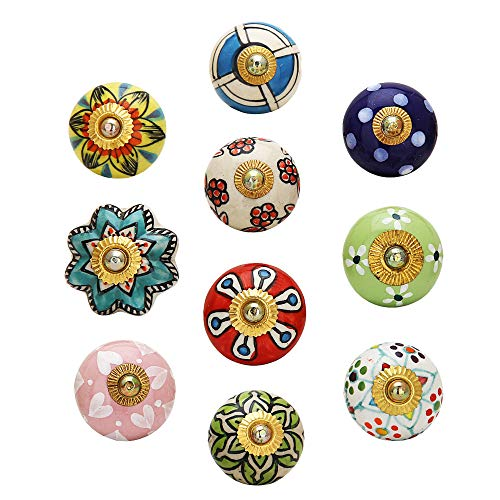 Antique Door Knob - Pack of 10 Pcs - Decorative Furniture Accessories for Drawers, Dressers and Wardrobe Multicolor Floral Cupboard Knobs (Antique Knobs Furniture)
