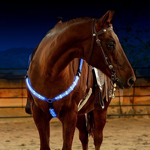 LED Horse Breastplate Collar - USB Rechargeable - Best High Visibility Tack For Horseback Riding - Adjustable, Sturdy & Comfortable Hi-Viz Equestrian Safety Gear - Makes Your Horse Visible and (Reflective Horse Tack)