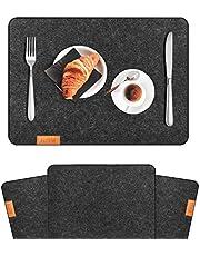 RSWLED Platzsets, Tischsets aus Filz 4er(6er) Set Anthrazit Waschbare Tischmatten rutschfest Hitzebeständig Platzdeckchen Premium Platzmatten für Küche Speisetisch Restaurant (43 x 32cm, Schwarz)