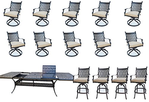 (15-Piece Patio Dining Set Grand Tuscany Outdoor Cast Aluminum Furniture With Sunbrella)