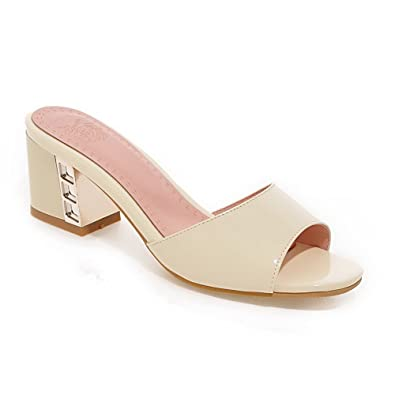 79e40fa55fd AllhqFashion Women s Pull-on Open Toe Kitten-Heels PU Solid Slippers