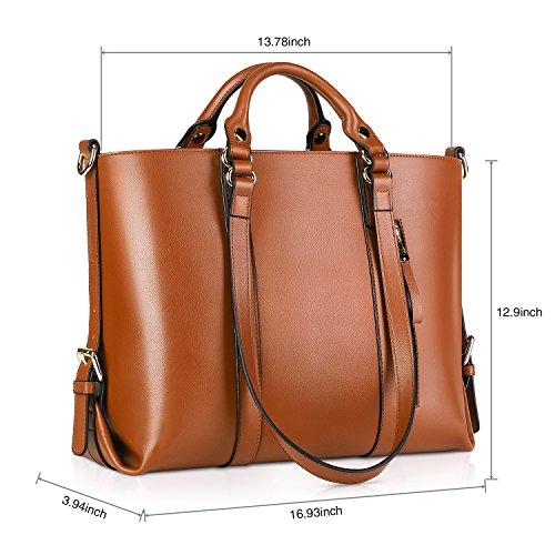 Kattee Urban Style 3-Way Women s Genuine Leather Shoulder Tote Bag, Orange 507d621c1b