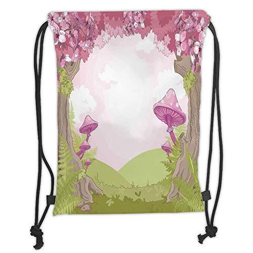 Custom Printed Drawstring Backpacks Bags,Mushroom Decor,Cherry Blossom Trees in Fairytale Land Forest Surreal Fantasy Wonderland Image,Green Pink Brown Soft Satin,5 Liter Capacity,Adjustable -