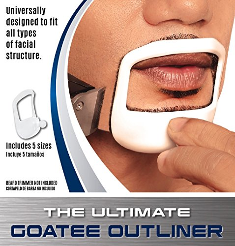 Goatee Outliner Kit - 5 Sizes Set All-In-One Tool | The Beard Care & Grooming Gift Kit For Any Beard Bro | Use With A Beard Trimmer Or Razor To Style
