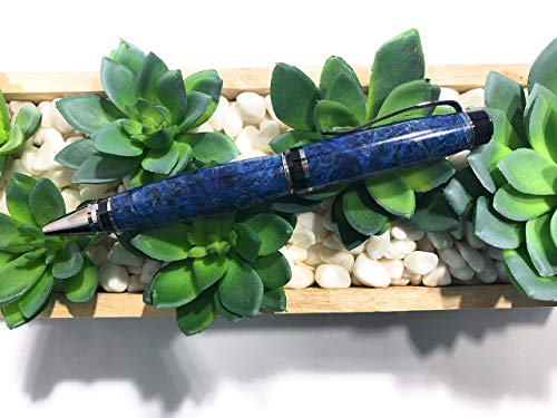 Bendecidos Pens - Blue Maple Burl Partagas Pen - Black Titanium by Bendecidos Pens (Image #3)