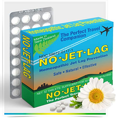 Miers Labs No Jet Lag Homeopathic Remedy + Fatigue Reducer for Airplane Travel Across Time Zones with All Natural Ingredients – 32 Count Chewable Tablets (for up to 50+ hours of flying)