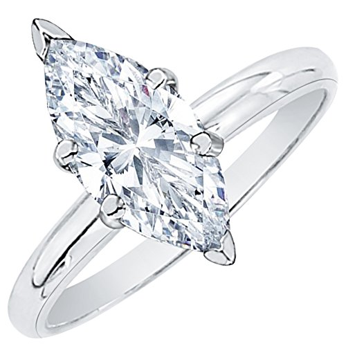1/2 ct. E - SI2 Marquise Cut Diamond Solitaire Engagement Ring in 14k White Gold (Size-11.75)