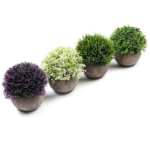 U'Artlines 4 Pack Artificial Plastic Mini Plants Topiary Shrubs Fake Plants with Gray Pot for Bathroom,House Decorations,4 Styles (Colorful)