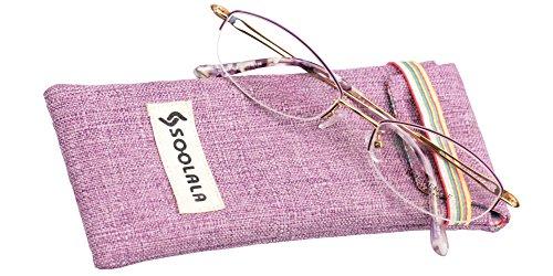 SOOLALA Womens Quality Titanium alloy Semi-Rimless Reading Glasses with Hollow Arms, Purple, - Reading Online Glasses Titanium