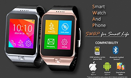 Indigi® Unlocked! Smart Watch And Phone -SWAP- Capacitive Color Touch Screen | Time Display | Calls (Answer, End, Reject) | Caller ID | Messaging | Notification | Remote Camera Shutter | Music | Phonebook | Anti-lost Alert | Built-in Mic & Speaker | Ringtone & Vibration | Pedometer | Audio Player | FM Radio| Calender | Alarm | Multimedia | Voice Recorder | Image Viewer | Calculator Sleep Monitor | Phone locator (Silver)