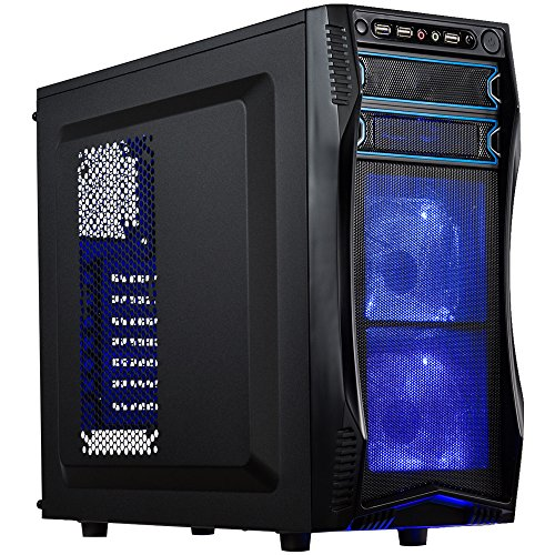 (ROSEWILL ATX Mid Tower Gaming Computer Case, Gaming Case with Blue LED for Desktop / PC and 3 Case Fans Pre-Installed, Front I/O Access Ports  (CHALLENGER S))