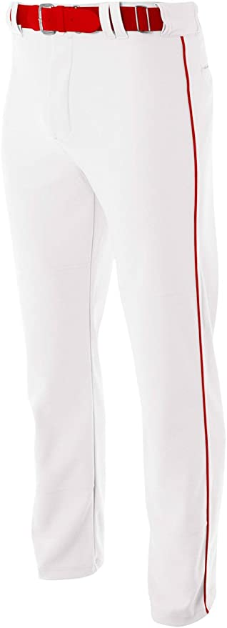A4 Youth /& Adult Pro Style Open Bottom Baggy Baseball Pant White Cardinal Red