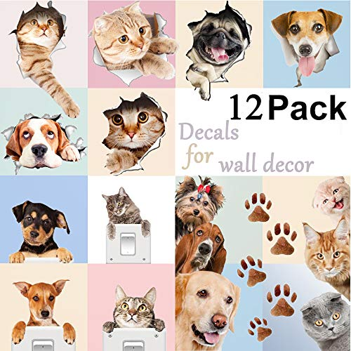 AINOLWAY 3D Cute Dog and Cat Wall Decals for Kids Rooms Fun Animals Wall Art Sticker Decor 12 Pack