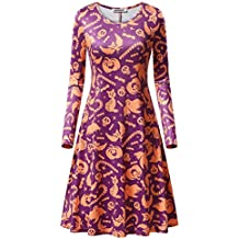 Women's Long Sleeve Loose Swing Casual Midi Dress Claus Print Pullover Flared Aline Dress