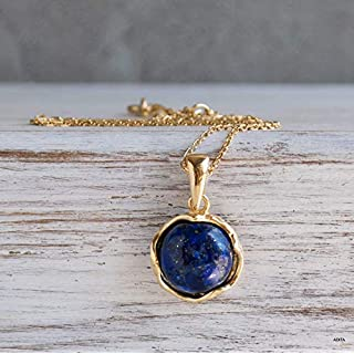 14K Gold Plated Lapis Lazuli Necklace - 14K Gold Plated over 925 Sterling Silver, Dainty 12mm Natural Stone, Genuine Blue Lapis Lazuli Gemstone Pendant, Handmade Vintage Antique Jewel for Women