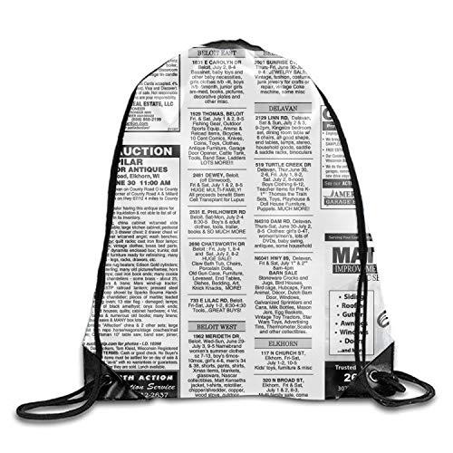 Print Drawstring Backpack White Newsprint Rucksack Shoulder Bags Gymsack Sackpack