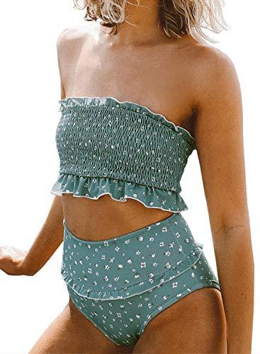 Aleumdr Women's Strapless Bra High Waist Bandeau Bikini Bottom Set Swimsuit Blue Large 12 14