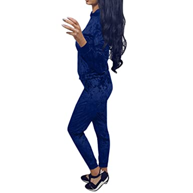 MEIbax Terciopelo Slim Fit Conjuntos de Deporte Mujer Mujer 2pcs ...