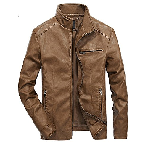 f77de88a26d Galleon - MAGE MALE Mens Leather Jacket Slim Fit Stand Collar PU Motorcycle  Jacket Lightweight