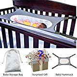 Newborn Baby Hammock for Crib Wombs Bassinet High Quality Buckle Strong Oxford Material with Double-layer Breathable Supportive Mesh 33lbs Capacity Adjustable Straps Absolutely Safe Nursery Bed Travel (Gray)