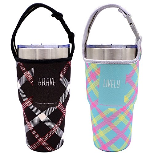Tumbler Carrier Holder Pouch For All 30oz Stainless Steel Travel Insulated Coffee Mug, IHUIXINHE 2 Pack Neoprene Black Sleeve Accessories with Carrying Handle, Light Hand Free Bag (Black & Blue Plaid)