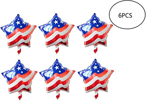 Fourth of July Balloons American-Flag-Patriotic Mylar-Balloons LuftBalloons for Fourth of July, Memorial Day, Independence Day, Labor Day,Election Day And Other Party Decoration,6pcs