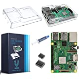 V-Kits Raspberry Pi 3 Model B+ (B Plus) with Clear Transparent Case and Set of 2 Heatsinks [Latest Model 2018]
