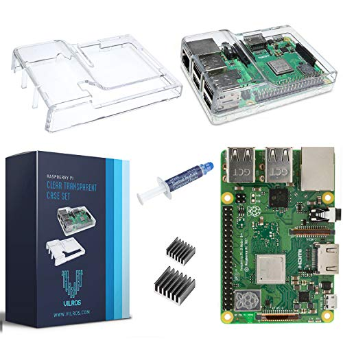 V-Kits Raspberry Pi 3 Model B+ (B Plus) with Clear Transparent Case and Set of 2 Heatsinks [2018 Model] (Raspberry Pi 2 Model B Heatsink)