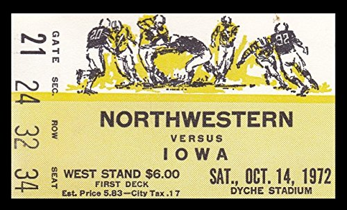 1972 Northwestern v Iowa Football Ticket 10/14/72 Dyche Stadium 27532 - Northwestern Iowa Football