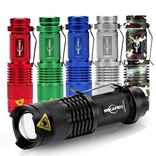 MIKAFEN 6 Pack Mini Flashlights LED Flashlight Torch 300lm Adjustable Focus Zoomable Light ()