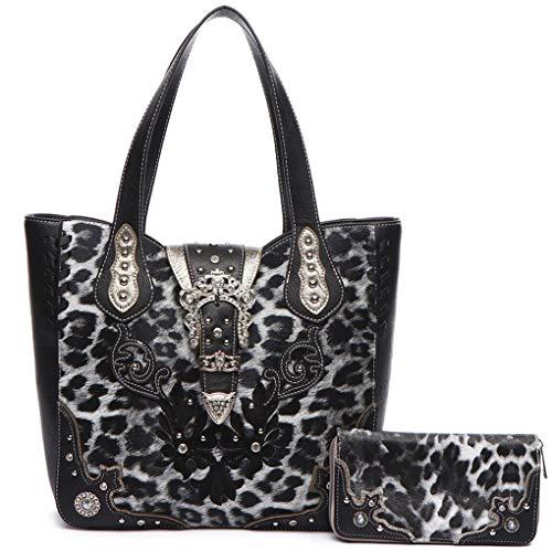 Style Rhinestone Belt - Leopard Rhinestone Belt Buckle Western Style Concealed Carry Purse Handbag Women Shoulder Bag Wallet Set (Black Set)