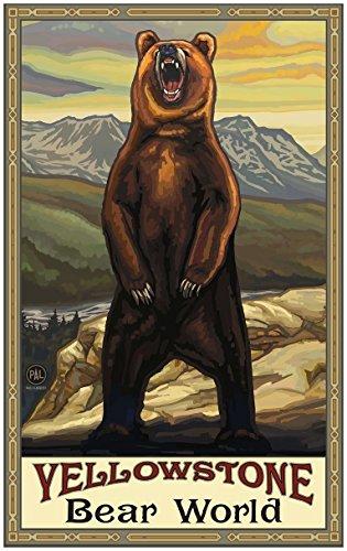 Yellowstone Bear World Grizzly Bear Yellow Travel Art Print