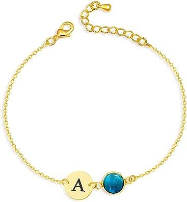 Birthstone Initial Bracelet Personalized Initial Bracelet Custom Initial Bracelet Heart Initial Bracelet Woman/'s Initial Bracelet