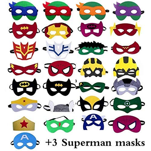 32 PCS Superhero Mask - children's top hats, children's birthday party, birthday supplies ()
