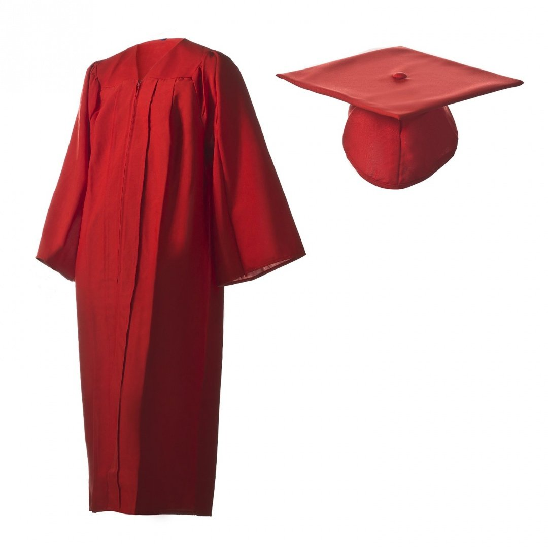 Amazon.com: Graduation Cap and Gown Set Matte Red in Multiple Sizes ...