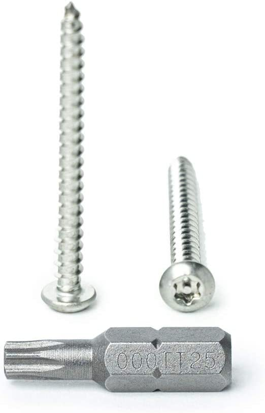 """#14 x 1-1//2/"""" Button Head Torx Security Sheet Metal Screws Qty 10 by Bridge Fasteners Includes bit 18-8 Stainless Steel Tamper Resistant"""