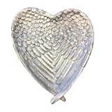 Sagebrook Home 12597-01 Decorative Resin Heart Plate Polyresin, 8.75 x 8 x 1.25 Inches, Silver