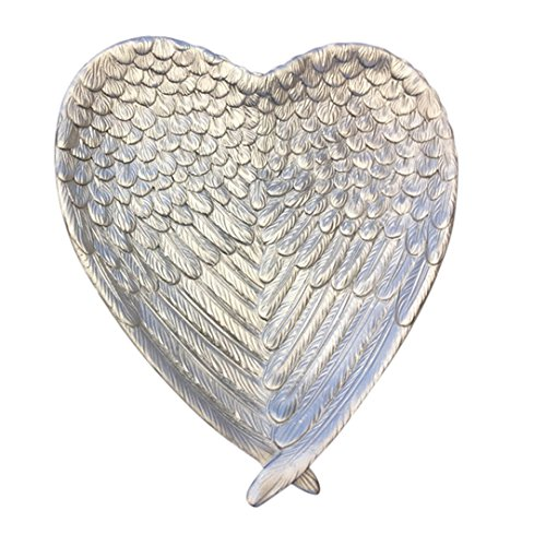 Sagebrook Home Decorative Resin Heart Plate, Silver, 8.75 x 8 x 1.25 Inches,