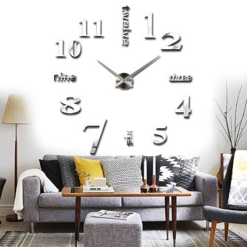 Wall Sticker orologio digitale adesivi Wall Clock DIY 3D Orologio da Parete decorativo per Casa Ufficio Hotel Ristorante Ottimo Regalo Yosoo
