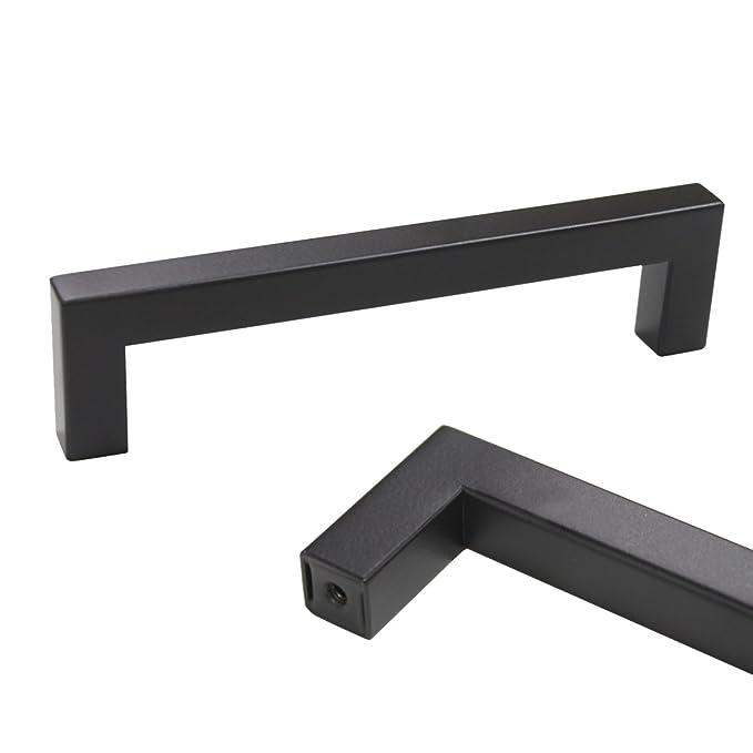 probrico 10 PCS quadratisch schwarz Küche Schrank Tür Griffe T Bar ...