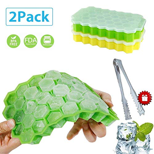 2 Pack Silicone Ice Cube Trays with Removable Lid, Easy Release Honeycomb Shape Ice Molds and Stainless Steel Ice Tongs,BPA Free Stackable Durable and Dishwasher Safe -