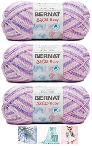 Bernat Softee Baby Acrylic Yarn 3 Pack Bundle Includes 3 Patterns DK Light Worsted #3 Variegated (Spring Flowers) ()