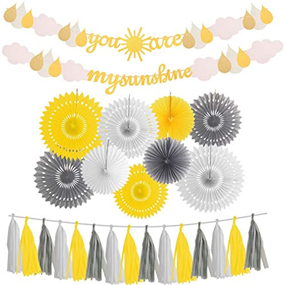 Details About You Are My Sunshine Banners Garlands Gold Glitter With Cloud Little Party Baby